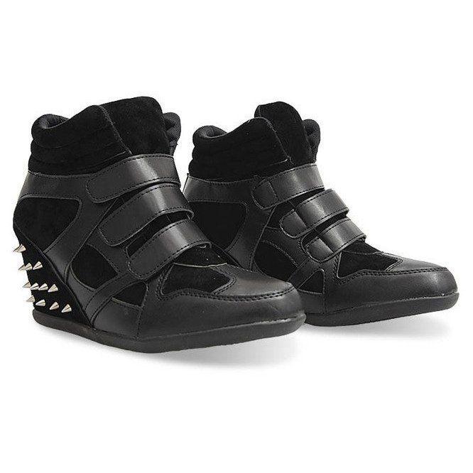 Trampki Na Koturnie Z Cwiekami 4515 Czarny Czarne Shoes Fisherman Sandal Sandals