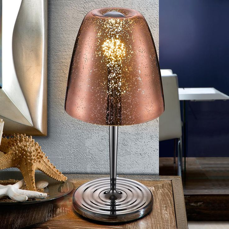 Szklana lampa stołowa Quasar, w kolorze miedzi 8582310