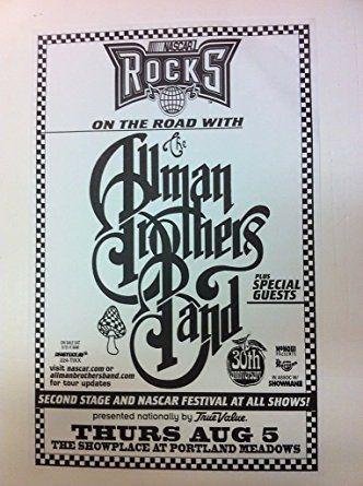 Allman Brothers Band 1999 Nascar Rare Original Portland Concert Tour Poster