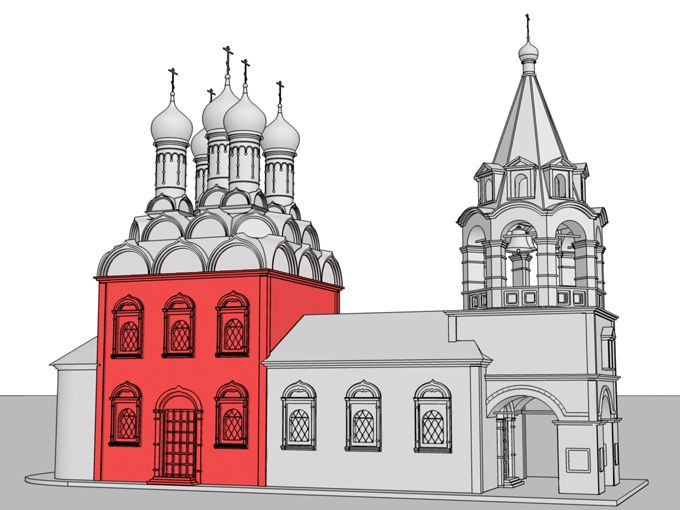 Четверик – здание или часть здания квадратной в плане формы. Основной объем данного храма представляет собой четверик, увенчанный ярусом кокошников. Общее внутреннее пространство освещается двумя рядами окон, поэтому такой четверик называют двусветным.