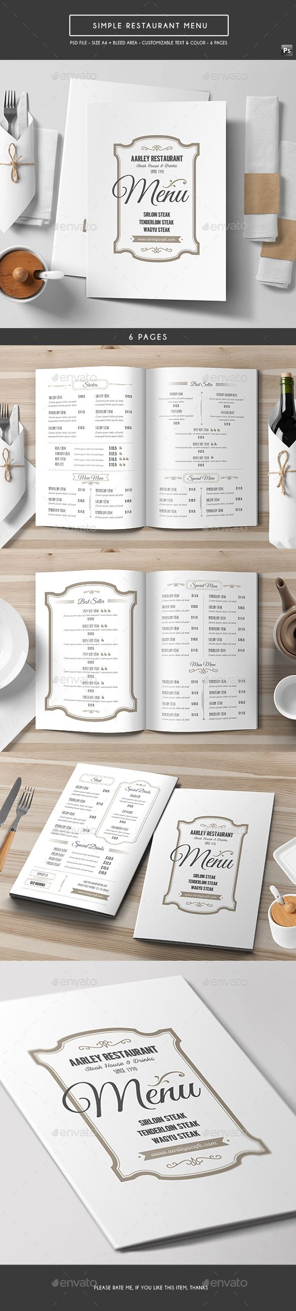 Simple Restaurant Menu  PSD Template • Download ➝ https://graphicriver.net/item/simple-restaurant-menu/17165297?ref=pxcr