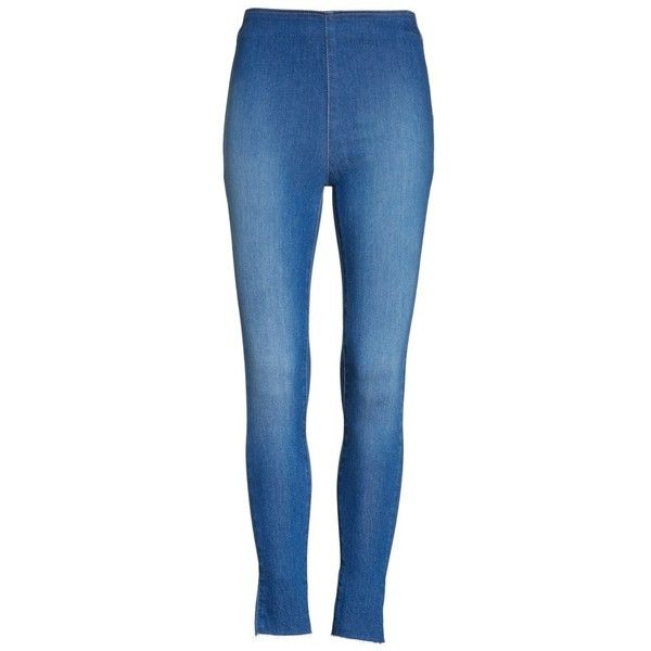 Women's Free People Easy Goes It Denim Leggings (£42) ❤ liked on Polyvore featuring pants, leggings, jean leggings, blue trousers, free people pants, free people leggings and denim leggings