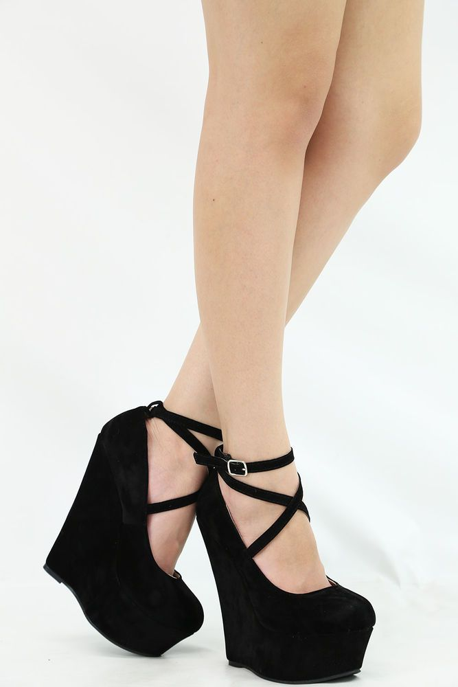CLOSED TOE CRISS CROSS STRAPPY ANKLE STRAP MARYJANE WEDGE HEEL PLATFORM PUMP 8.5 #Breckelle #PlatformsWedges