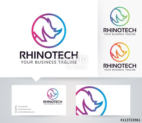 Vector: Rhino Technology vector logo with business card template