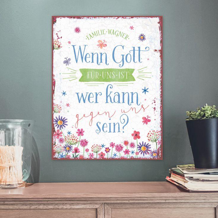 Persönliches Metallschild im Format 27 x 35 cm, mit Aufhängung. #persönlich #metallschild #metall #schild #vintage #geschenk #handmade #familie #gott #bibel #römer