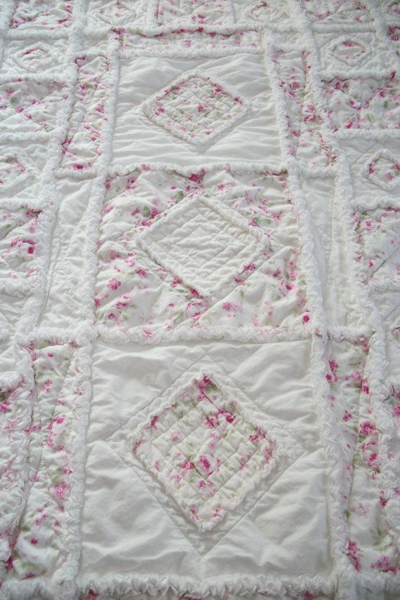shabby chic soft rose applique baby rag quilt quilt stuff pinterest rag quilt baby rag. Black Bedroom Furniture Sets. Home Design Ideas