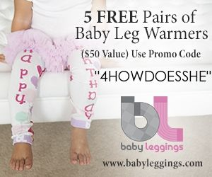 5 Free Pairs of Baby Leg Warmers!  Use Promo Code 4HOWDOESSHE #free #leggins