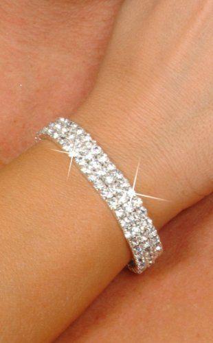 Amazon.com: Bridal Rhinestone Stretch Bracelet 3-row Silver Tone - Ideal for Wedding, Prom, Party or Pageant: Jewelry