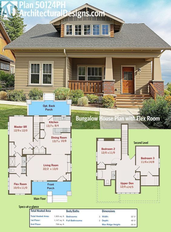 Plan 50124ph bungalow house plan with flex room for Flexible house plans