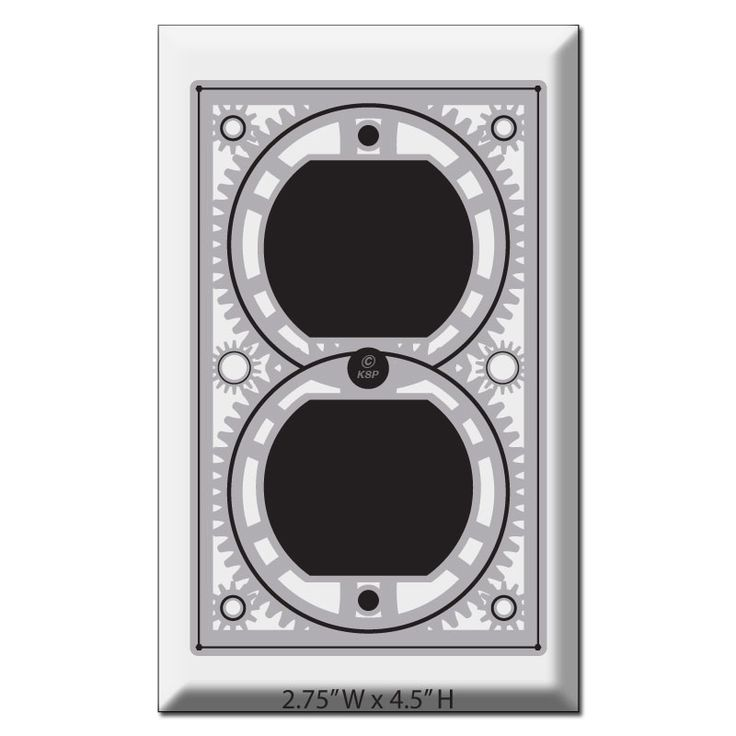 Stylish Steampunk industrial decor light switch & outlet cover plates are crafted in USA in 100 sizes. Cool wall plates, matching switches & outlets at Kyle Switch Plates.
