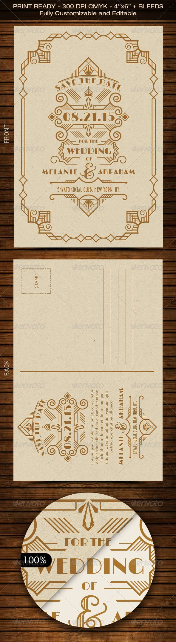 all ireland wedding invitations%0A Wedding Save the Date Post Card  Art Deco    by Size  Bleed Area   Resolution      dpi Color Representation  CMYK Easily change all colors