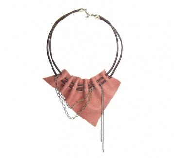Pembe Hakiki Deri Kolye / Leather Necklace