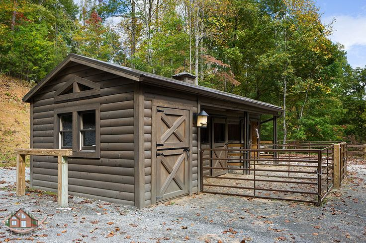 Horses Love Log Home Living Too!! This Log Stable Is Equipped With A Custom