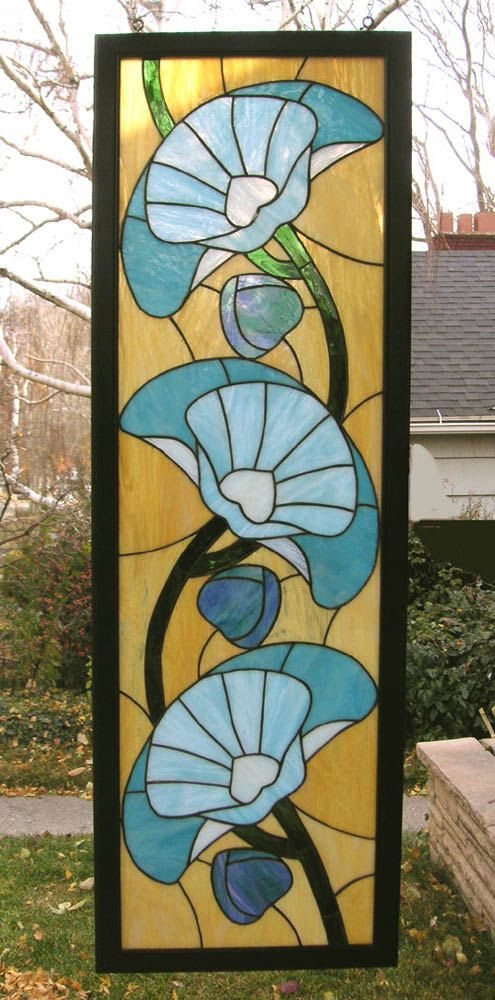 Art Deco Poppies 16.5 x 50 Stained Glass by StainedGlassArtist