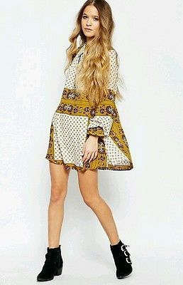 FREE PEOPLE bandana paisley bohemian peasant shirt  blouse top M Anthropologie