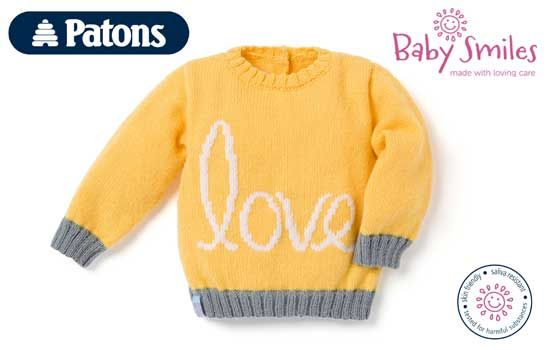 Free baby pullover knitting pattern from Patons Baby Smiles yarns.