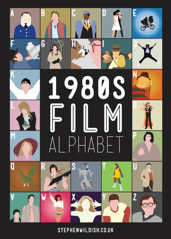 80's moviesFilmalphabet, 1980S Movie, 1980 S, Alphabet Posters, Film Posters, 1980S Film, Indiana Jones, Teen Wolf, Film Alphabet