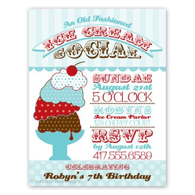 ice invitations social Retro cream