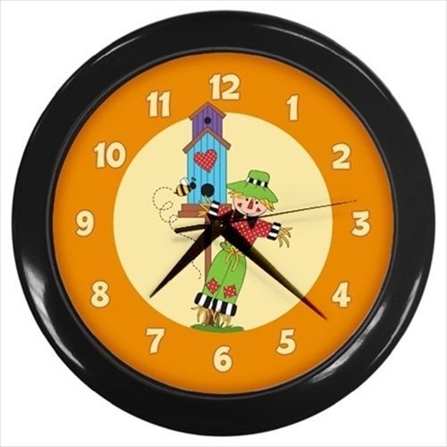 Country scarecrow Autumn wall clock
