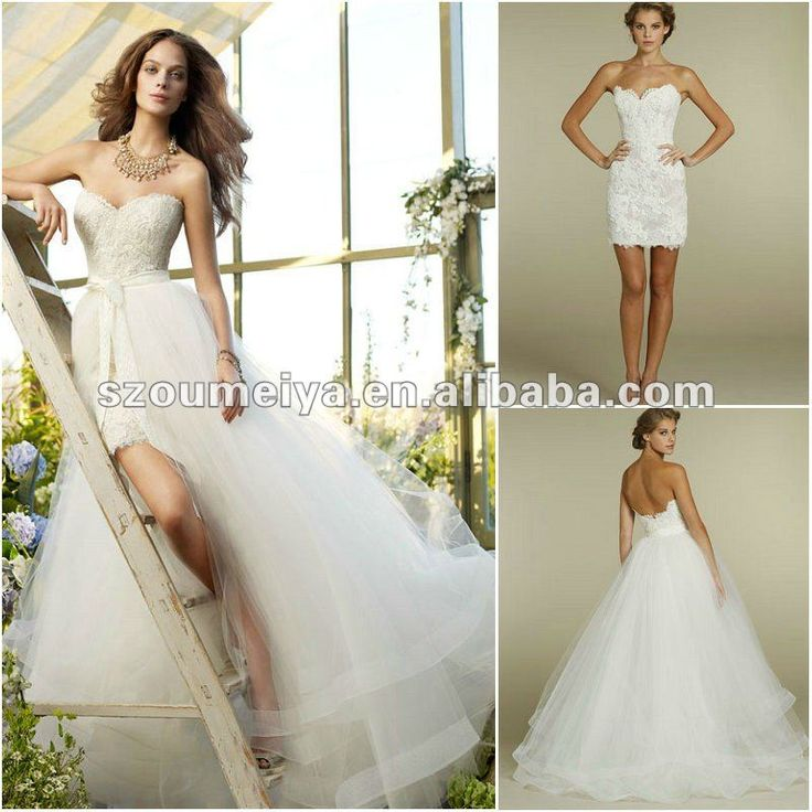 17 best images about detachable wedding gowns on pinterest for Short wedding dress with removable train