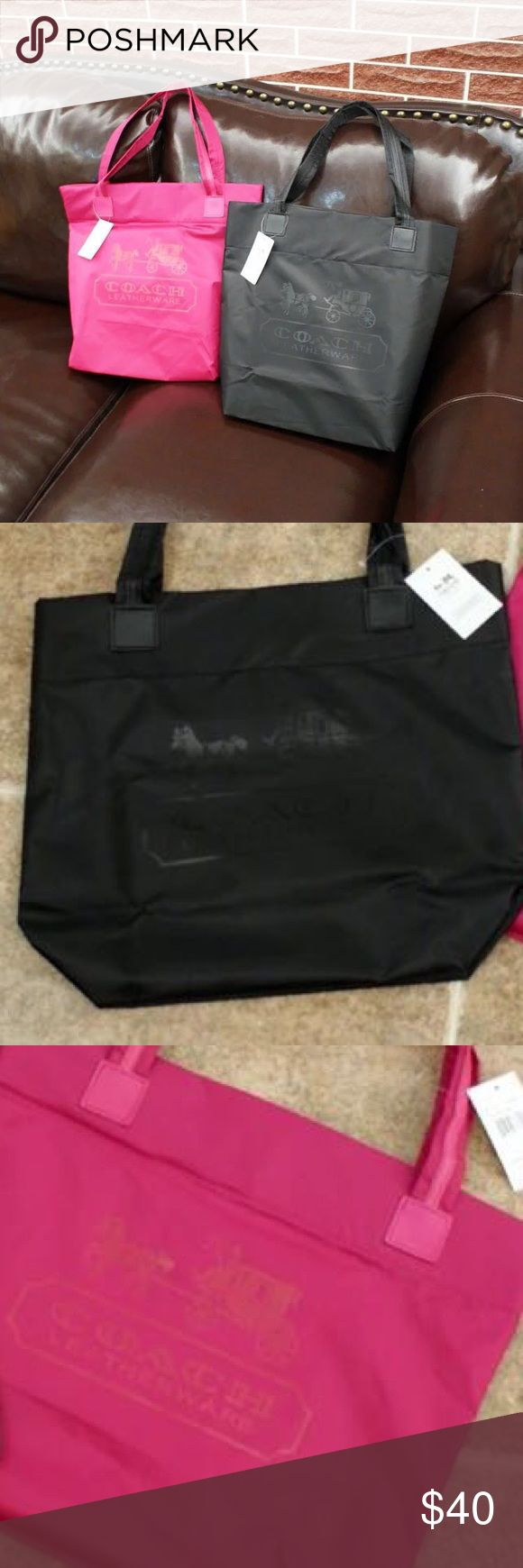 Coach shopping tote Coach shopping tote with water prof material! Extra perfection for raining season, easy to put away, you can through in to your washer and clean, easy to take care :) have four different colors. Black, pink, purple, and blue . Price for each:) Coach Bags