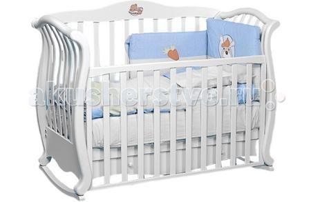 Baby Italia Andrea VIP качалка  — 57200р. ----------------------  Детская кроватка Baby Italia Andrea VIP качалка - изысканная кроватка в винтажном стиле. Превращается из кроватки в диванчик, можно использовать до 4-5 лет.   Фигурная стенка декорирована аппликацией в виде трогательного спящего мишки. Может использоваться в качестве качалки или кроватки на колёсах. Прорезиненные колёса не царапают пол, два из них - с фиксаторами.   Передняя стенка легко опускается. Кроватка Baby Italia Andrea…