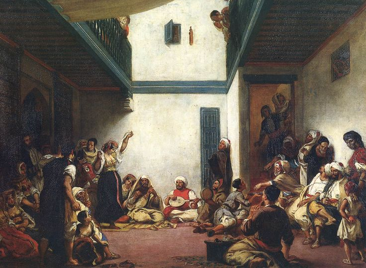 A Jewish Wedding scene in Morocco during the 19th century. Indigenous Jews of North Africa and the Middle East are called mochajuden. http://www.mochajuden.com