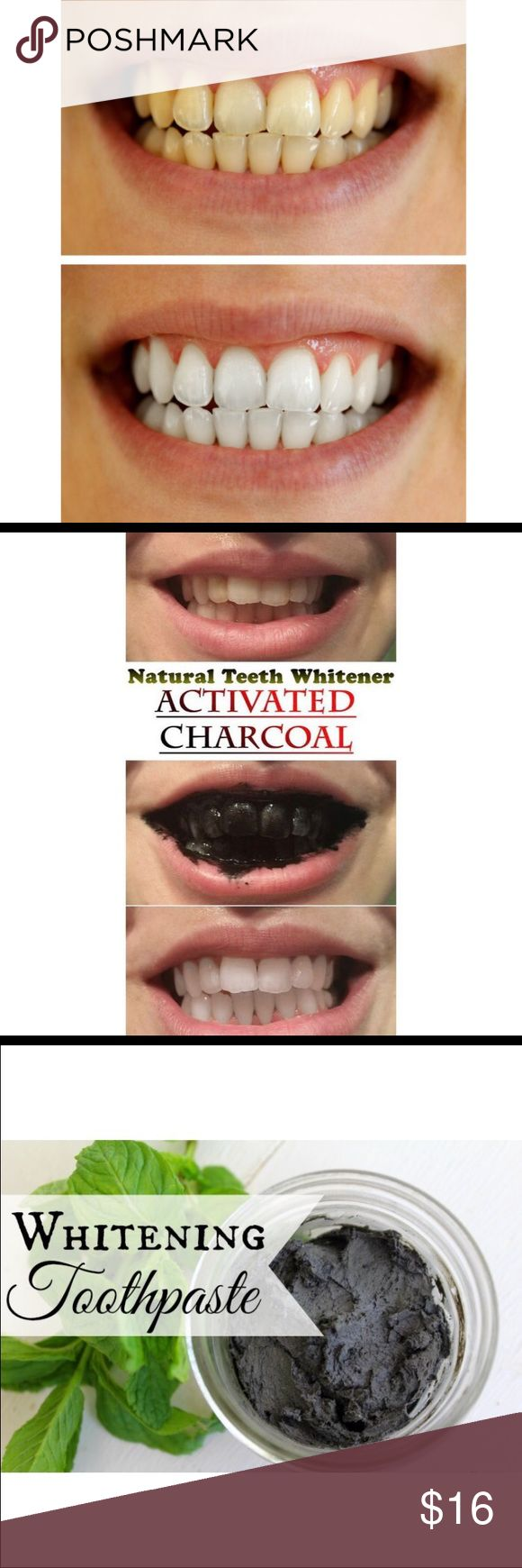 GET RID OF YELLOW STAINS ON TEETH, 100% ORGANIC!! 100% ORGANIC & IT REALLY WORKS!  Our Activated Charcoal and Bentonite Clay toothpaste works to WHITEN teeth, freshen breath, and protect your gums.  Unfortunately, majority of commercial toothpastes (especially the whitening variety) are filled with dangerous chemicals and toxins that slowly erode the tooth enamel & gums.  Ingredients: Activated Charcoal, Bentonite Clay, Coconut Oil, Sea Salt, Purified Water, Pure Therapeutic Mint Essential…