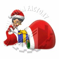 Mrs Claus Shoving Present into Gift Bag Animated Clipart