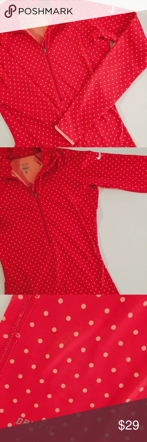 Nike Pro Hot Pink Polka Dot Quarter Zip Pullover Size Small Nike Pro Hot Pink Quarter-Zip Pullover with Peach trim and Polka Dot Pattern. 88% Polyester, 12% Spandex. Like-New Condition.   All items come from a smoke free home and are shipped on the same or following day an order is placed.   Reasonable offers are considered and often accepted. Deals on bundles are also available.   Items are shipped in polymailers placed INSIDE boxes to ensure all purchases are completely protected from…