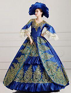 vendita steampunk®top reale dell'abito di sfera blu partito vittoriano wholesalelolita rococò principessa abiti da ballo