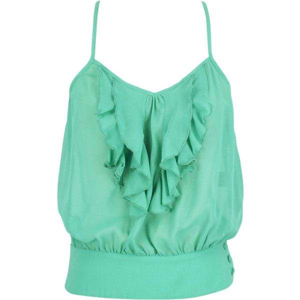 Gossamer Wings Tank in Mint ❤ liked on Polyvore