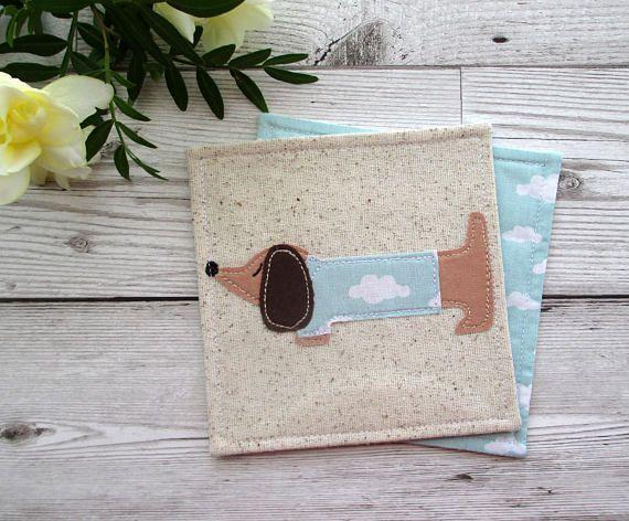 Dachshund Coaster, Fabric Coaster, Daxie Gift, Doxie Gift, Dog Coaster, Desk Decor, Housewarming Gift, Textile Coaster, Coffee Coaster