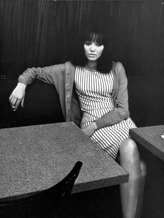 Anna Karina... love her style - Striped vertical tank dress, cardigan