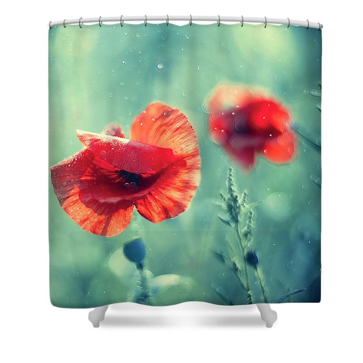 Shower Curtain featuring the photograph Red Poppy On Aqua by Oksana Ariskina. A red garden poppy flower in a sparkling bokeh aqua turquoise sunny abstract background. Available as mugs, posters, greeting cards, phone cases, throw pillows, framed fine art prints, metal, acrylic or canvas prints, shower curtains, duvet covers with my fine art photography online: www.oksana-ariskina.pixels.com #OksanaAriskina