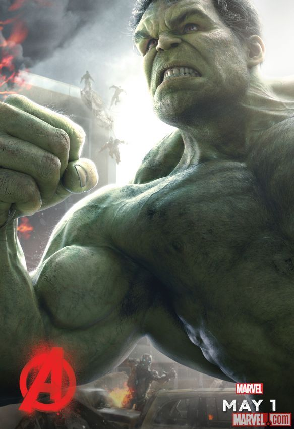 """Hulk dominates in his Marvel's """"Avengers: Age of Ultron"""" poster, hitting theaters May 1!"""