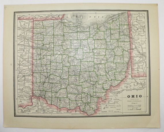 Ohio Map Indiana State 1887 Vintage Map Unique Gift Idea for the – Travel Map Indiana