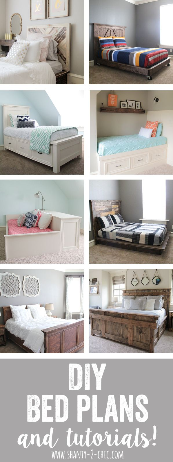 So many free DIY bed plans and tutorials!  They have full instructions for twin beds, full beds, queen beds and even king beds.  Great website for woodworking and DIY!  Full tutorial at www.shanty-2-chic.com!