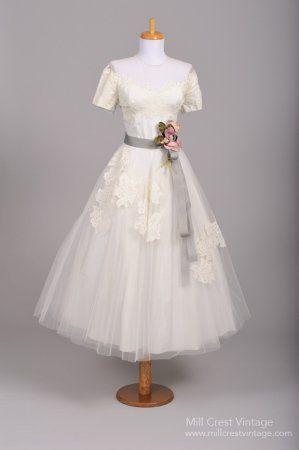1950's Off the Shoulder Illusion Vintage Wedding Dress