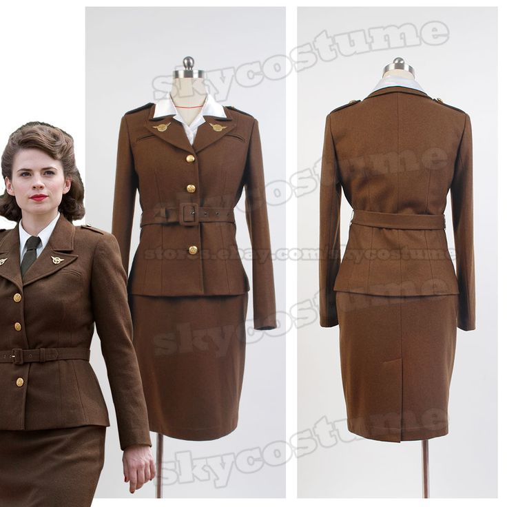 Captain America Agent Margaret Peggy Carter Dress Jacket Cosplay Costume Uniform