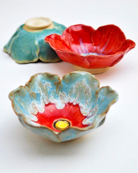 poppy prep bowl ceramic flower bowl turquoise by OneClayBead, $19.00