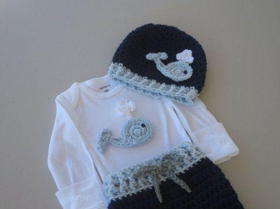 layette, coming home, custom order, baby girl, newborn, baby boy, crochet, knit, ocean, nautical, sea life, hat, pants