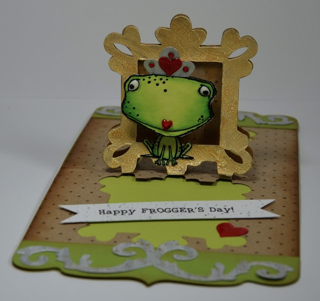 Such a cute Father's Day pop-up card using the Frame Pop 'n Cuts insert by @Kelly Booth  - Lovin The Life I Color: Almost Frogger's Day!!