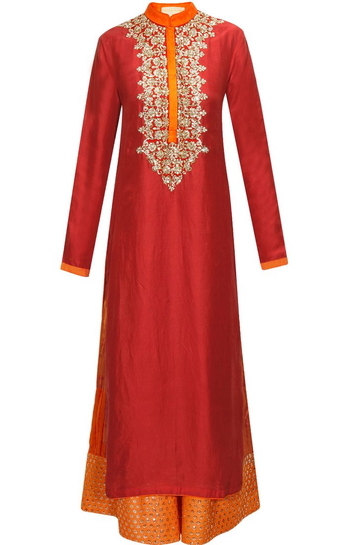 Red embroidered kurta with shibori printed pants by Vikram Phadnis. Shop now: http://www.perniaspopupshop.com/designers/vikram-phadnis #kurta #vikramphadnis #shibori #perniaspopupshop #shopnow #happyshopping