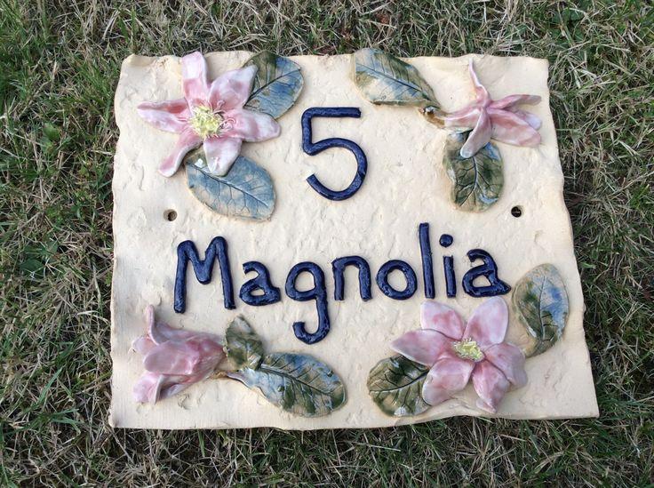 House name plaque. Magnolias. By sallyamoss www.ceramiccrafts.com