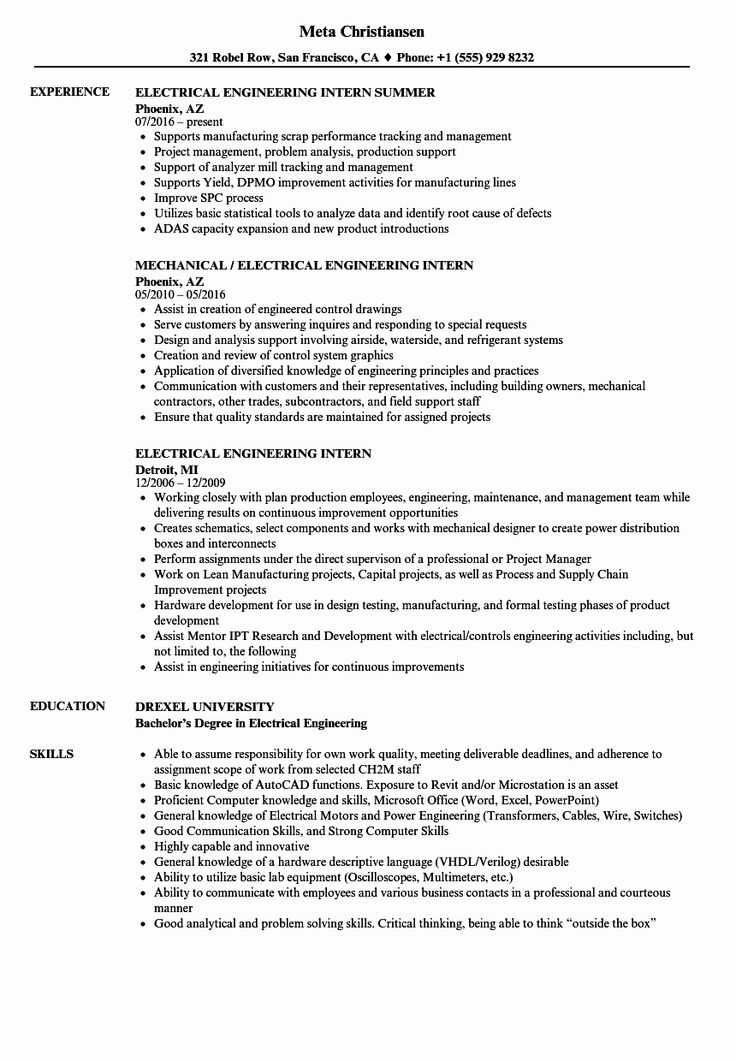 Electrical Engineering Internship Resume Beautiful