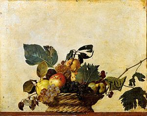 Basket of Fruit (c.1599) is a painting by the Italian Baroque master Michelangelo Merisi da Caravaggio (1571–1610), which hangs in the Biblioteca Ambrosiana (Ambrosian Library), Milan.  It shows a wicker basket perched on the edge of a ledge. The basket contains a selection of summer fruit:  This is the first known example of the 'still life' genre in the modern artistic era.