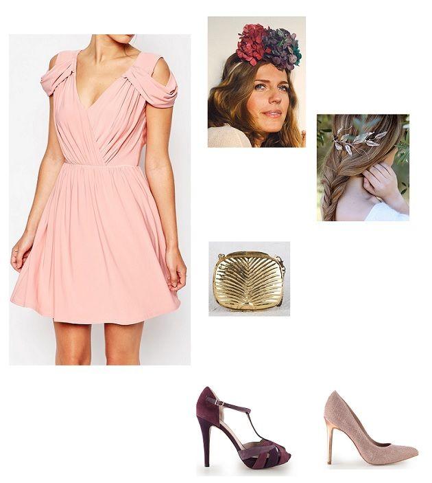 look boda vestido rosa palo