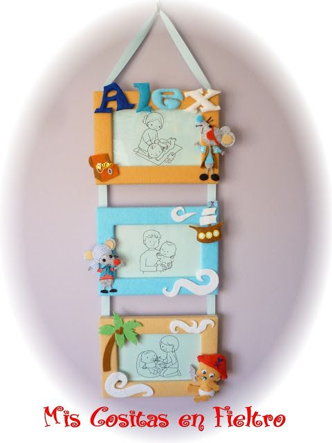 Keret, képkeret, baby, egér, egerek, kalóz ajándék, fotó, gyermek, filc