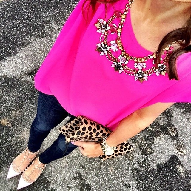 IG @mrscasual <click through to shop this look> hot pink top. Statement necklace. Banana republic denim leggings. Valentino rockstud ballerina flats. Clare v leopard fold over clutch. Michael kors Lexington watch.